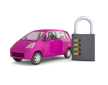 Pink small car and combination lock  3d render isolated on white background photo