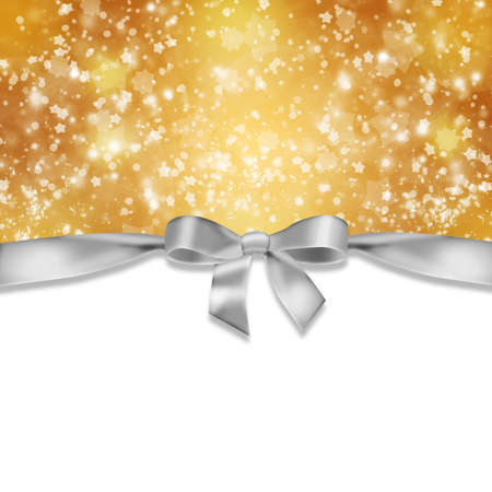 新年の背景リボンとゴールドの背景に抽象的な雪片 写真素材