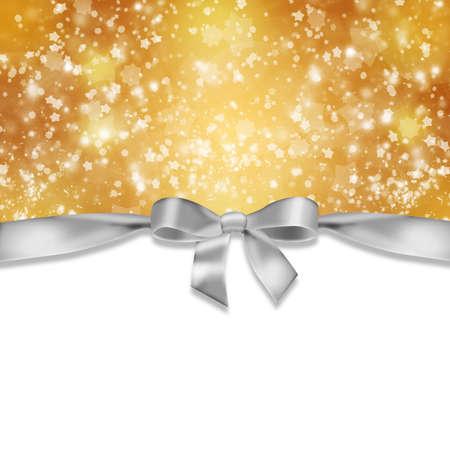 New Year s achtergrond Lint en sneeuwvlokken op abstracte gouden achtergrond Stockfoto
