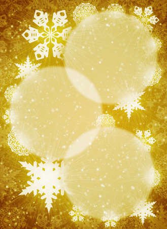 Christmas frame  White snowflakes on the yellow background