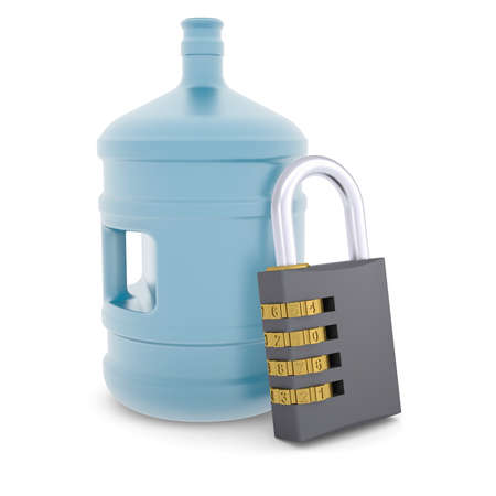 Water bottle and combination lock  3d render isolated on white background photo