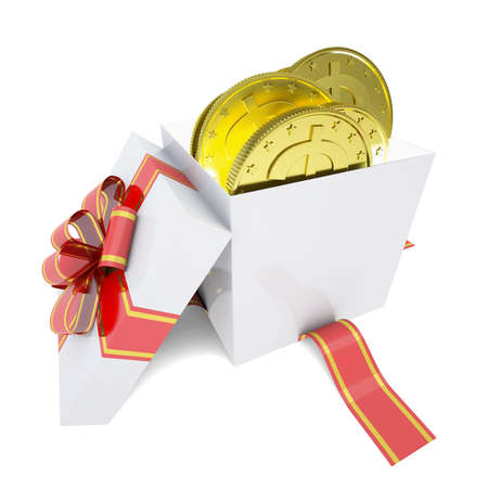 Gold coins in a gift box  3d render isolated on white background photo