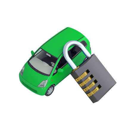 Green small car and combination lock  3d render isolated on white background photo