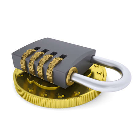 Golden Dollar and combination lock  3d render isolated on white background Stock Photo - 24588007