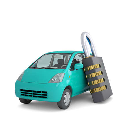 Turquoise small car and combination lock  3d render isolated on white background photo