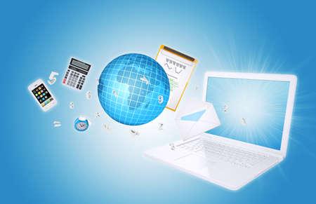 articulos oficina: Laptop y art�culos de oficina, el concepto de oficina digital Foto de archivo