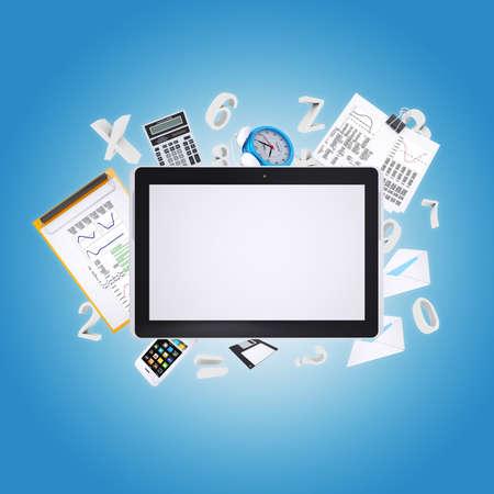 articulos oficina: Art�culos de Tablet PC y de la oficina El concepto de oficina digital Foto de archivo