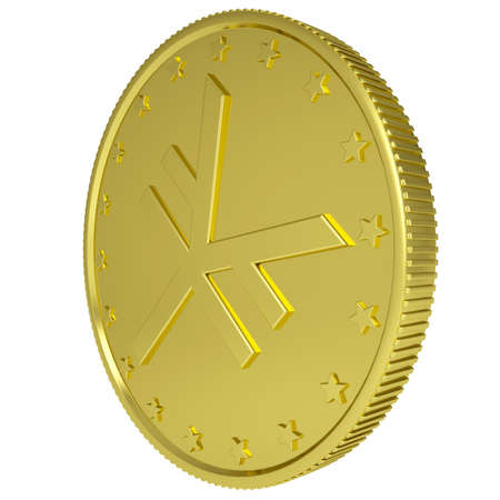 Gold yen  Isolated render on a white background photo