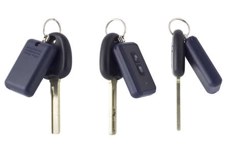 key fob: Photo car key and alarm fob  Three photos from different angles Stock Photo