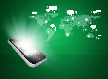 Smartphone and world map with contacts  The concept of communication technologies photo