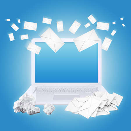 Laptop crumpled paper and envelopes  The concept of e-mailing photo