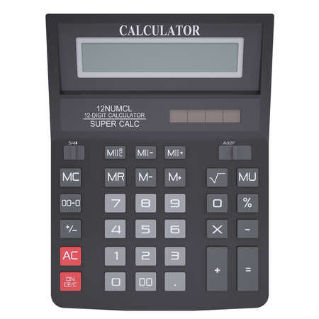 Black calculator  Isolated render on a white background