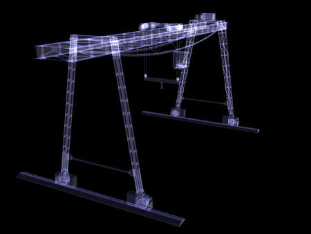 overhead crane: Overhead crane  X-Ray render isolated render on black background