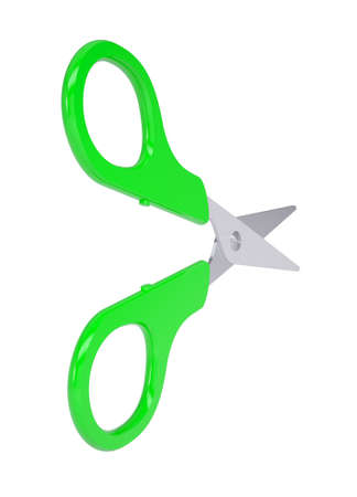 Scissors with green handles  Isolated render on a white background photo