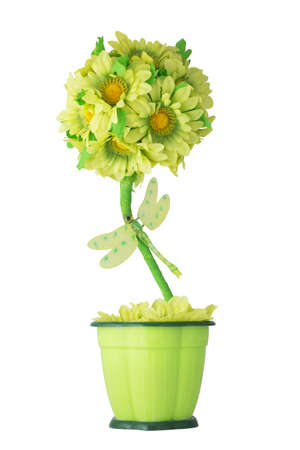Artificial flowers in flower pots  Sunflowers and dragonfly  Isolated on white background photo