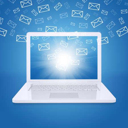 メール飛ぶノート パソコンの画面から電子メールの概念 写真素材