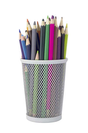 Pencils in a pencil cup  Isolated on white background photo