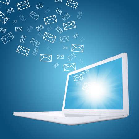 이메일은 노트북 화면의 전자 우편의 개념을 비행 스톡 콘텐츠