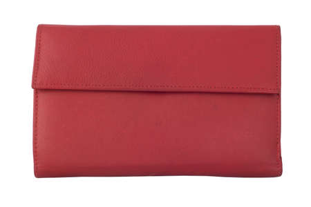 Women s leather wallet red  Isolated on white background