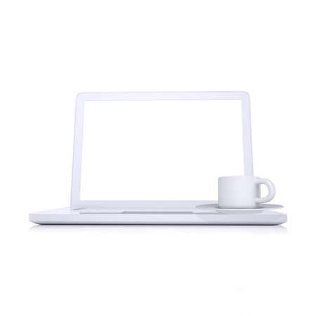 Laptop and coffee cup  Isolated render on white background photo