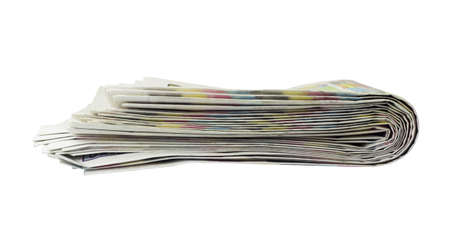 Stack of newspapers  Isolated on the white background photo