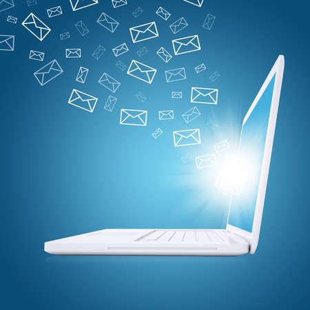 電子メールは、ノート パソコンの画面から飛ぶ電子メールの概念