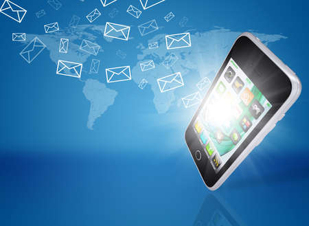 Emails fly out of smartphone screen  The concept of e-mailing photo