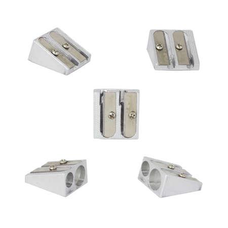 Metall-Büro Bleistiftspitzer auf weißem Hintergrund Standard-Bild - 24726075