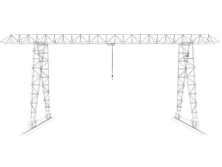 Gantry crane  Wire-frame  Isolated render on a white background photo