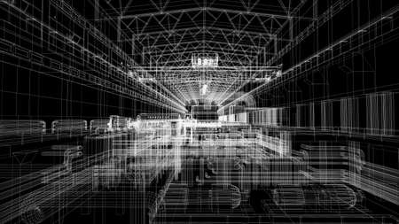 Gantry crane in a factory environment  Wire-frame  Render on a black background photo