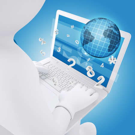 3d white man sitting with a laptop  Globe and numbers fly out of the screen  The concept of Computer Technology photo