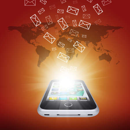smartdigital: Emails fly out of smartphone screen  The concept of e-mailing