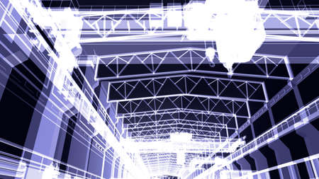 Gantry crane in a factory environment  X-ray  Render on a black background photo