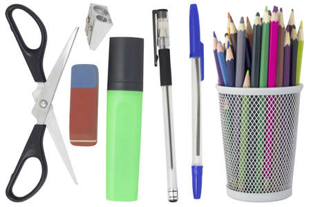 Office supplies  pencils, pens, scissors, markers, eraser and pencil sharpener  Isolated on white background photo