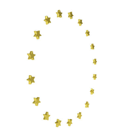Circle of gold stars  Isolated render on a white background Stock Photo - 24726209