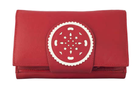 Women s leather wallet red  Isolated on white background photo