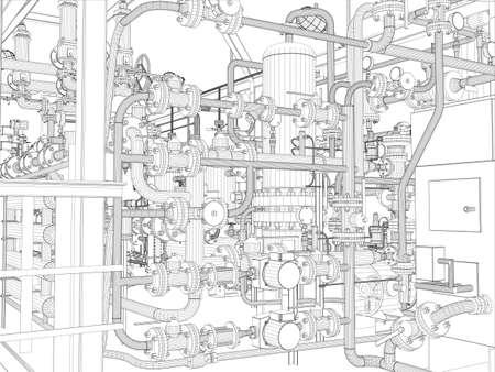 産業機器のワイヤー フレーム ベクトル EPS10 3d のベクター描画の書式を設定します。