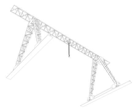 Gantry crane  Wire-frame  Vector EPS10 format  Vector rendering of 3d photo