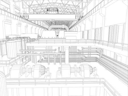 3 차원의 공장 환경 와이어 프레임 벡터 EPS10 형식 벡터 렌더링 갠트리 크레인