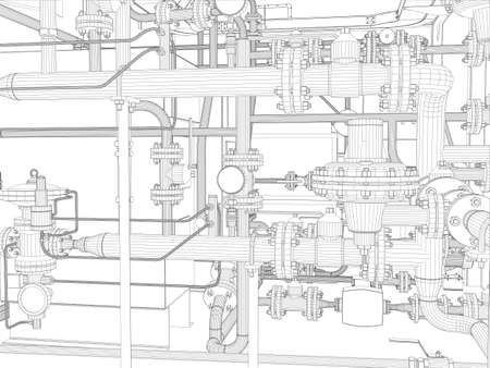 industria quimica: Equipo de industria Alambre-marco Vector EPS10 formato vectorial prestación de 3d