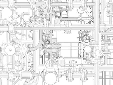 Industrial equipment  Wire-frame  Vector EPS10 format  Vector rendering of 3d