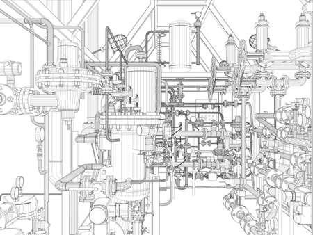 Impianti industriali Wire-frame Vector EPS10 formato vettoriale rendering 3d