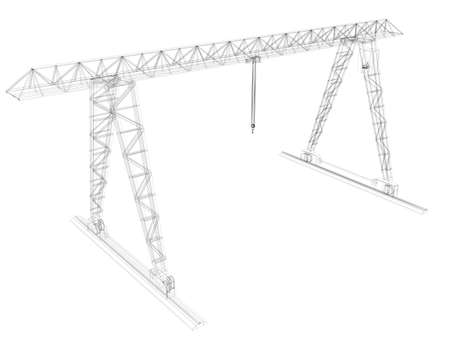 Gantry crane  Wire-frame  Isolated render on a white  photo