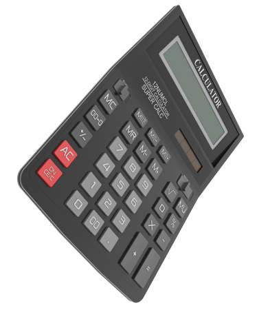 Black calculator  Isolated render on a white  photo