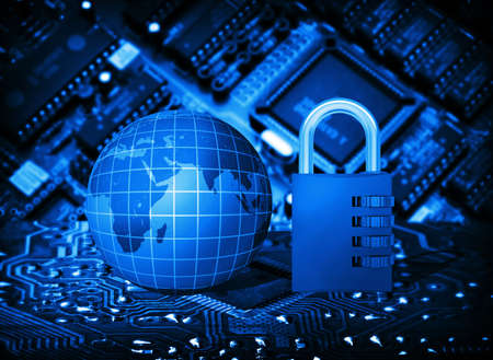 electric system: Futuristic integrated circuit, code lock and globe  The concept of electronic security