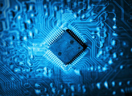 Futuristic integrated circuit  The concept of new technologies Stock Photo