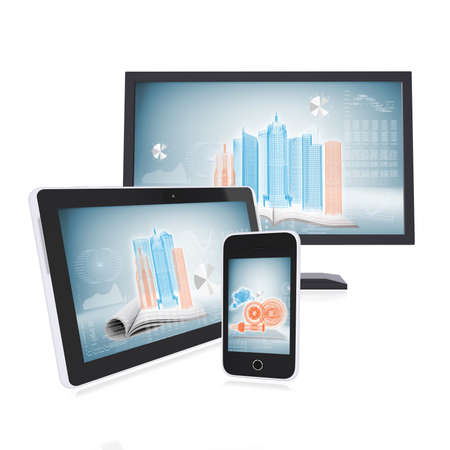 Monitor, tablet and smartphone on the white background  concept electronics photo