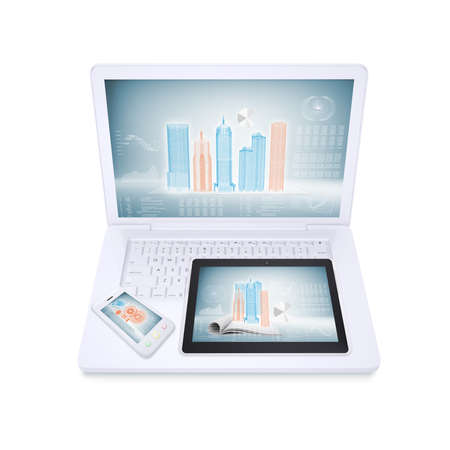 Laptop, tablet and smartphone on the white background  concept electronics photo