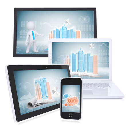 Monitor, laptop, tablet and smartphone on the white background  concept electronics photo