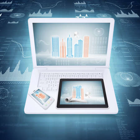 Laptop, tablet and smartphone on the background graphics  concept electronics photo